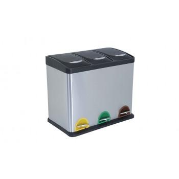 Basura / Papelera clasificadora de 3 compartamientos inoxidable