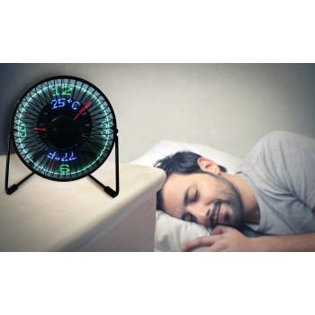 Mini Ventilador de escritorio con reloj LED e indicador de temperatura