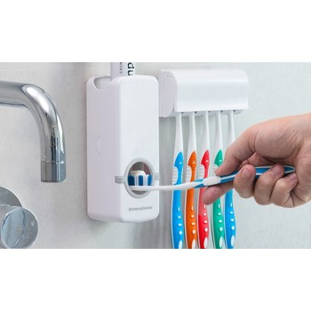 DISPENSADOR DE PASTA DENTAL CON SOPORTE PARA CEPILLOS