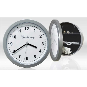 Reloj de pared con 2 estantes interiores y cierre de seguridad