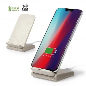 Cargador rápido inalámbrico de caña de trigo ECO con función soporte para móvil