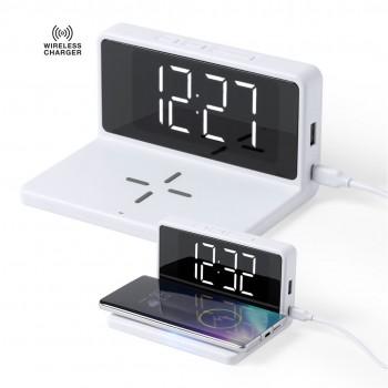 Reloj multifunción con cargador inalámbrico integrado.