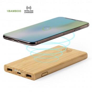 Batería auxiliar externa de Bambú con cargador inalámbrico integrado