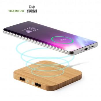 Cargador inalámbrico con carcasa en Bambú con salida USB dual de 2.100 mA