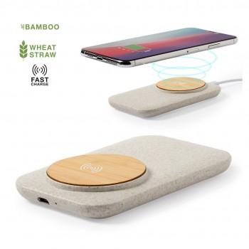 Cargador inalámbrico hecho en bambú en combinación con caña de trigo