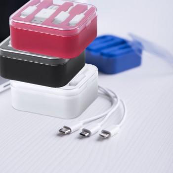 Caja cargador en variada gama de colores. Conexiones Tipo C, micro USB y Lightning