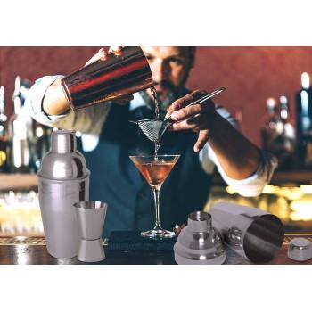 Coctelera y vaso dedidor en acero inoxidable