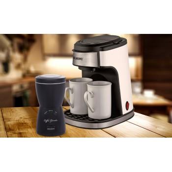 Cafetera eléctrica de goteo con 2 tazas de porcelana y molinillo