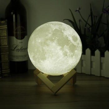 Lámpara Recargable USB tactil Impresion 3D Luna