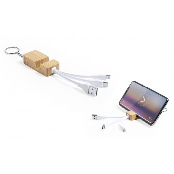 Cargador de bambú con llavero y soporte para smartphone