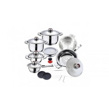 Batería de cocina de 16 piezas de alta gama con control de temperatura