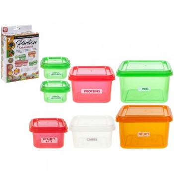 Set of 7 tuppers healthy portions